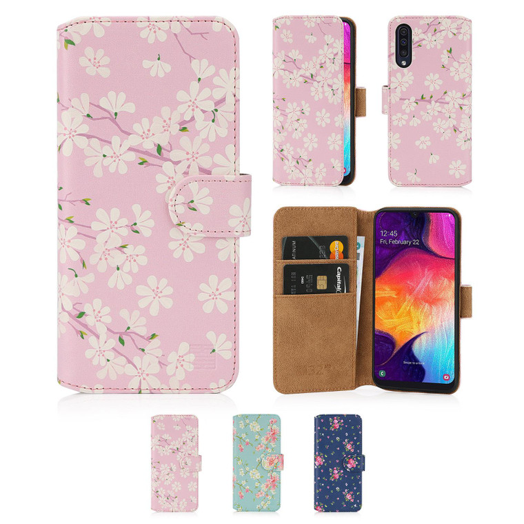 Samsung Galaxy A50, A50S & A30S (2019) 'Floral Series 2.0' PU Leather Design Book Wallet Case