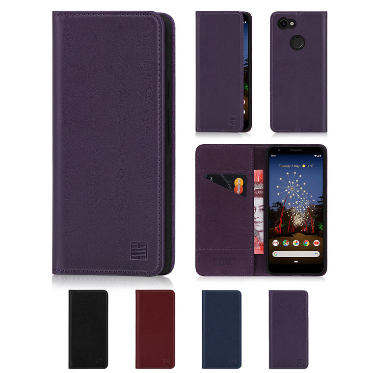 Google Pixel 3A XL 'Classic Series' Real Leather Book Wallet Case