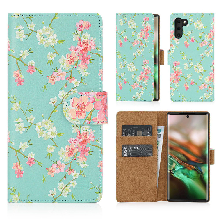 Samsung Galaxy Note 10 'Floral Series' PU Leather Design Book Wallet Case