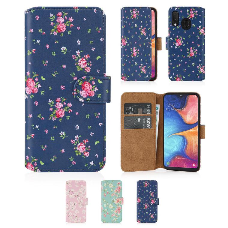 Samsung Galaxy A20e (2019) 'Floral Series 2.0' PU Leather Design Book Wallet Case