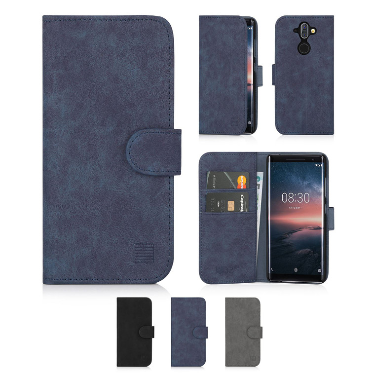 Nokia 8 Sirocco (2018) 'Essential Series' PU Leather Wallet Case Cover