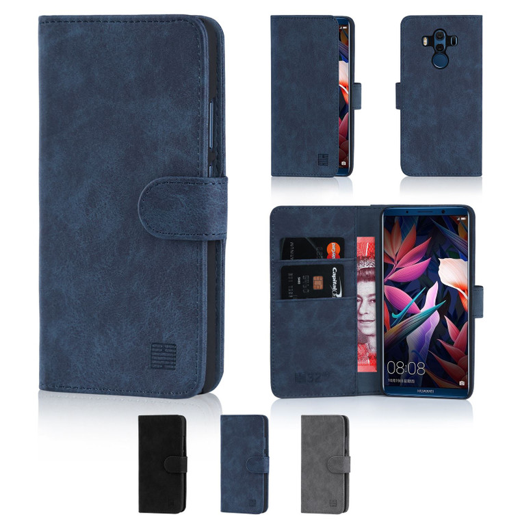 Huawei Mate 10 Pro 'Essential Series' PU Leather Wallet Case Cover