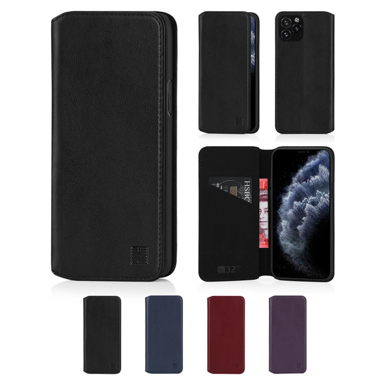 """Apple iPhone 11 Pro (5.8"""") 'Classic Series 2.0' Real Leather Book Wallet Case"""