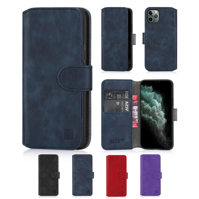 """Apple iPhone 11 Pro Max (6.5"""") 'Essential Series 2.0' PU Leather Wallet Case Cover"""