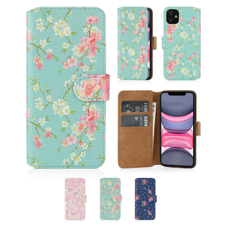 """Apple iPhone 11 (6.1"""") 'Floral Series 2.0' PU Leather Design Book Wallet Case"""