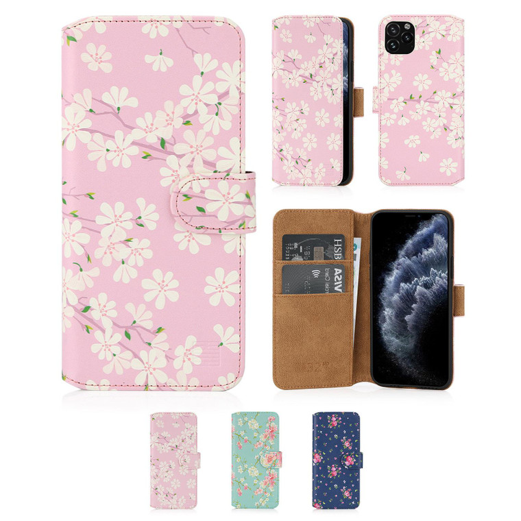 """Apple iPhone 11 Pro (5.8"""") 'Floral Series 2.0' PU Leather Design Book Wallet Case"""