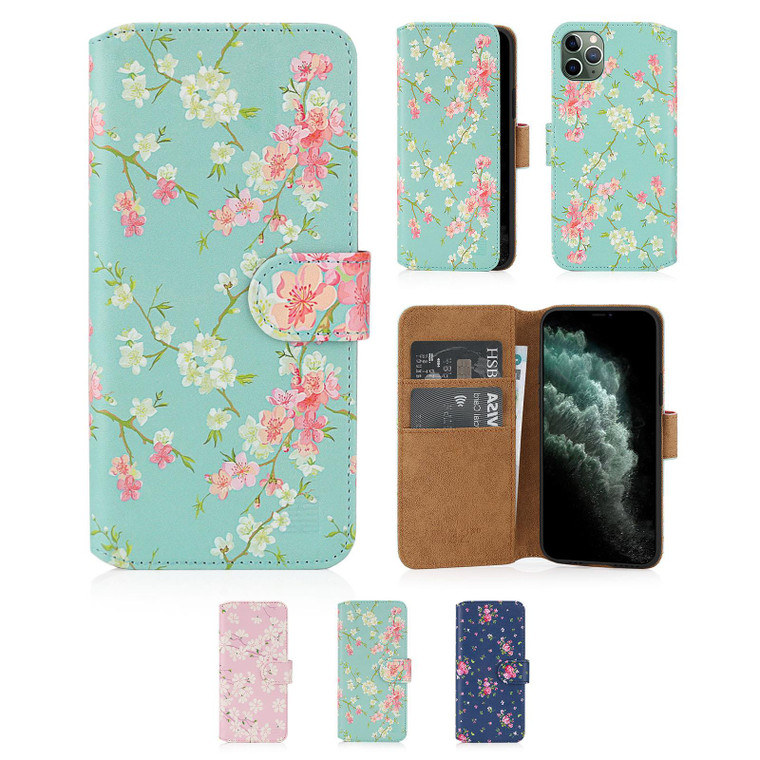 """Apple iPhone 11 Pro Max (6.5"""") 'Floral Series 2.0' PU Leather Design Book Wallet Case"""
