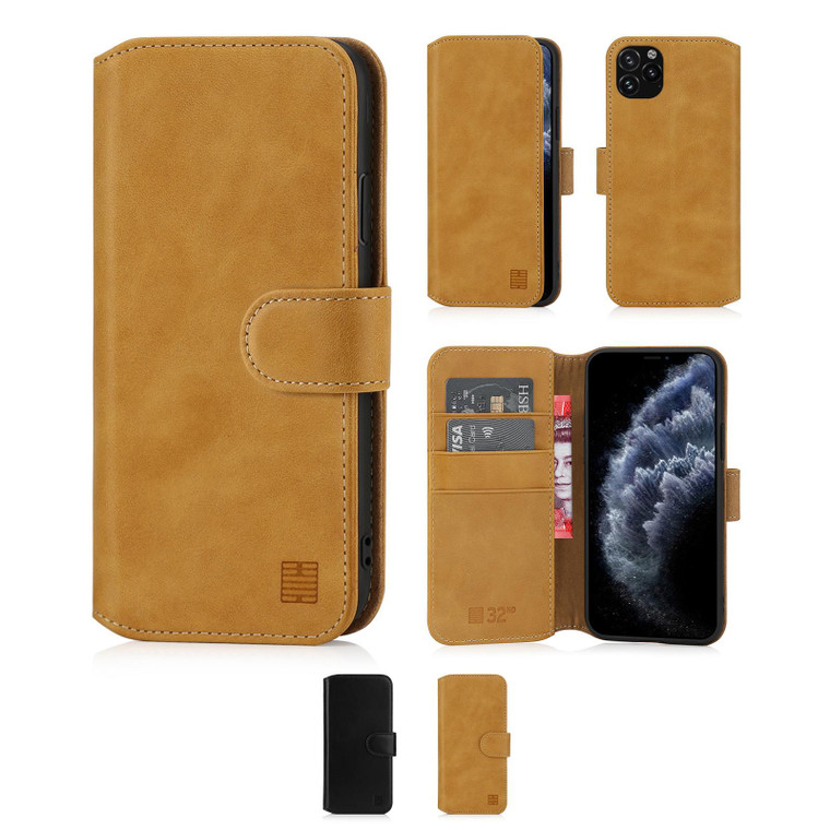 """Apple iPhone 11 Pro (5.8"""") 'Premium Series 2.0' Real Leather Book Wallet Case"""