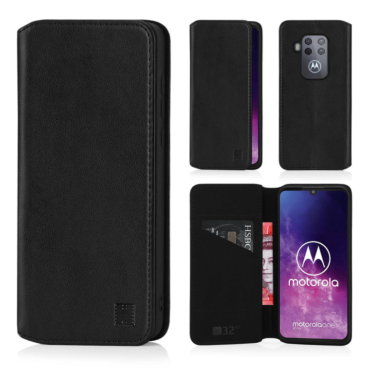 Motorola Moto One Zoom 'Classic Series 2.0' Real Leather Book Wallet Case