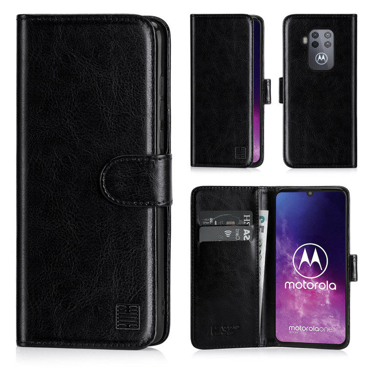 Motorola Moto One Zoom 'Book Series' PU Leather Wallet Case Cover