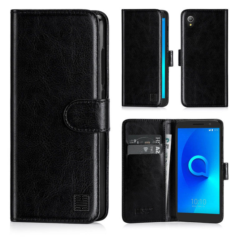 Alcatel 1 (2018 / 2019) 'Book Series' PU Leather Wallet Case Cover