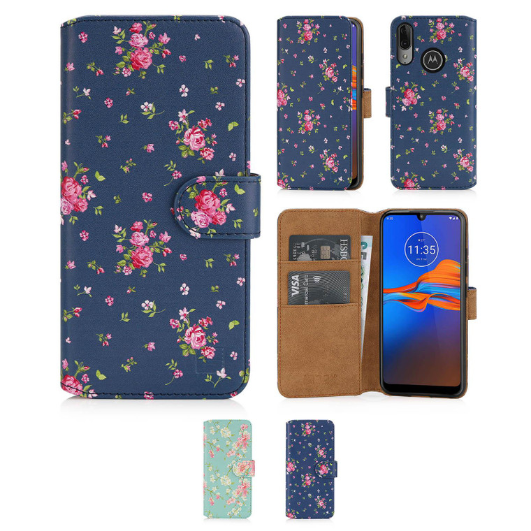 Motorola Moto E6 Plus 'Floral Series 2.0' PU Leather Design Book Wallet Case