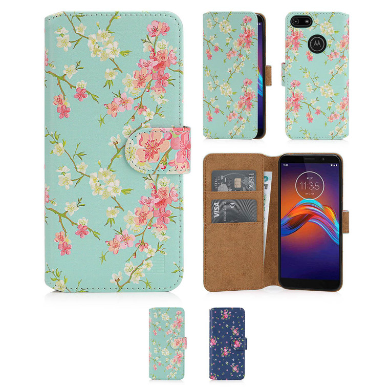 Motorola Moto E6 Play 'Floral Series 2.0' PU Leather Design Book Wallet Case