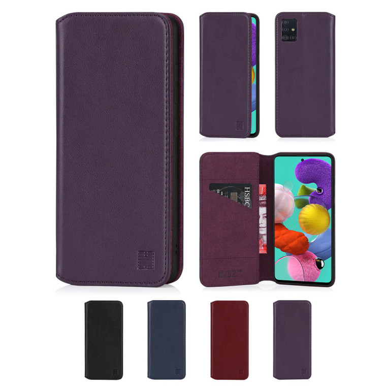 Samsung Galaxy A51 (2020) 'Classic Series 2.0' Real Leather Book Wallet Case