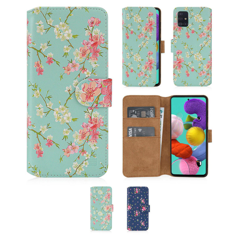 Samsung Galaxy A51 (2020) 'Floral Series 2.0' PU Leather Design Book Wallet Case
