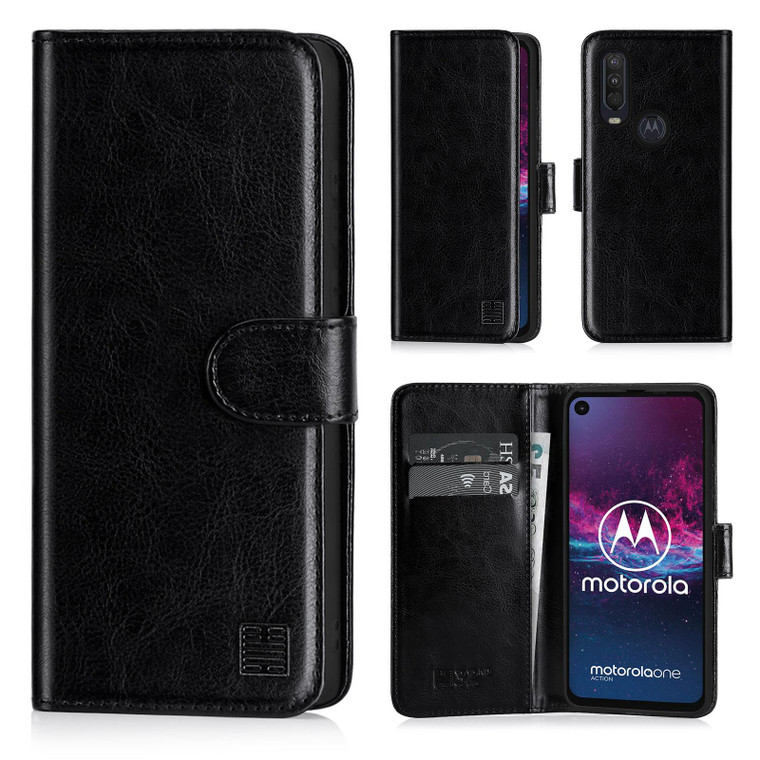 Motorola Moto One Action 'Book Series' PU Leather Wallet Case Cover