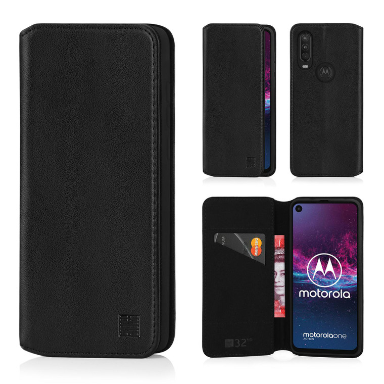 Motorola Moto One Action 'Classic Series 2.0' Real Leather Book Wallet Case
