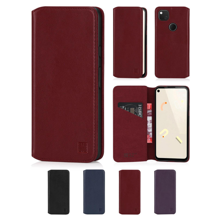 Google Pixel 4A 'Classic Series 2.0' Real Leather Book Wallet Case