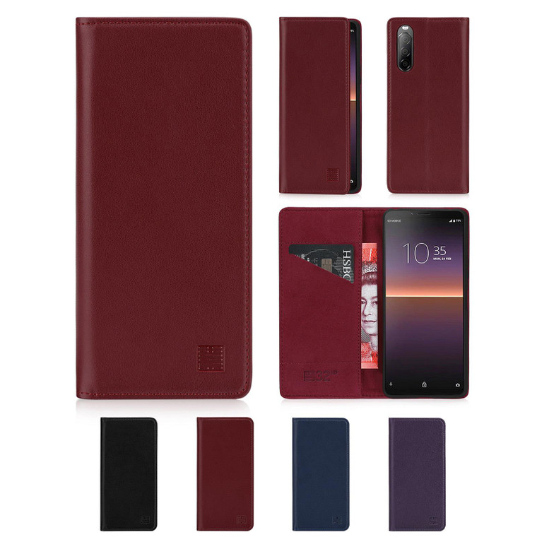 Sony Xperia 10 II (2020) 'Classic Series 2.0' Real Leather Book Wallet Case