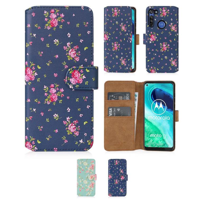 Motorola Moto G8 'Floral Series 2.0' PU Leather Design Book Wallet Case