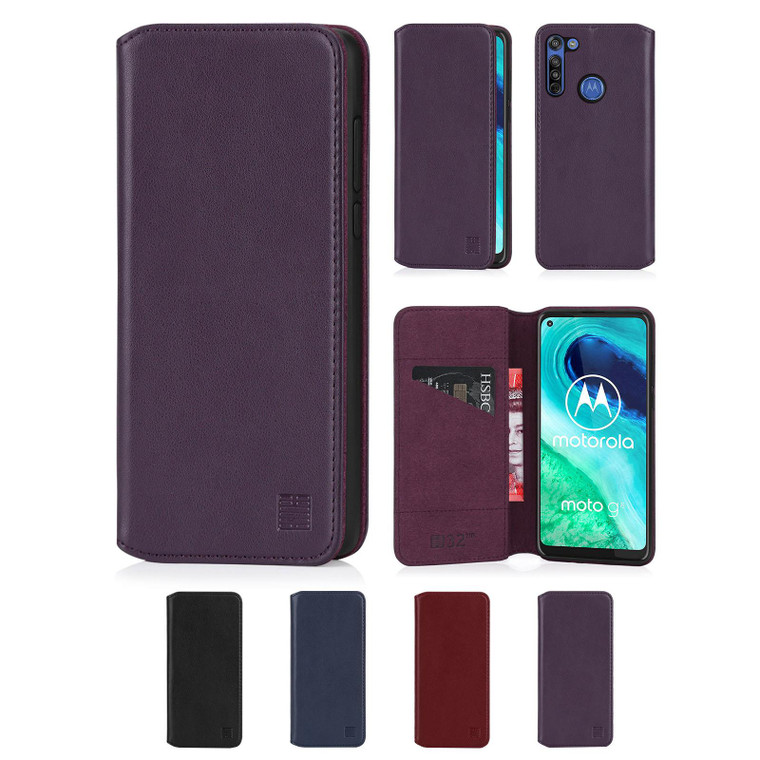 Motorola Moto G8 'Classic Series 2.0' Real Leather Book Wallet Case