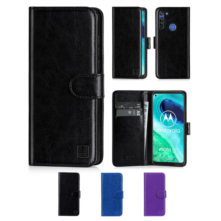 Motorola Moto G8 'Book Series' PU Leather Wallet Case Cover
