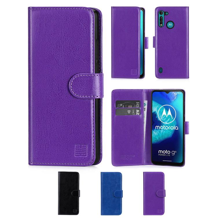 Motorola Moto G8 Power Lite 'Book Series' PU Leather Wallet Case Cover