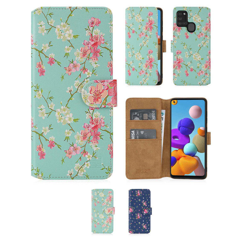 Samsung Galaxy A21S (2020) 'Floral Series 2.0' PU Leather Design Book Wallet Case