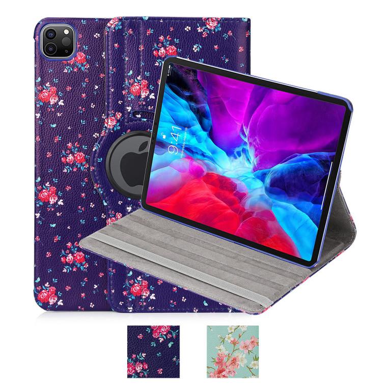 "Apple iPad Pro 12.9"" (2020 / 2021) 'Floral Series' PU Leather Design 360 Tablet Case"