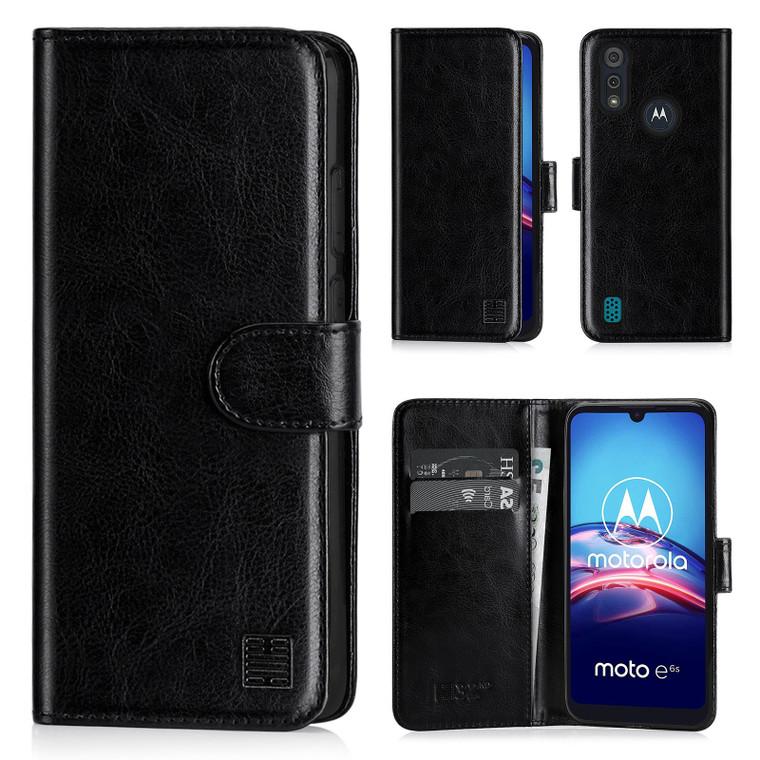 Motorola Moto E6S 'Book Series' PU Leather Wallet Case Cover