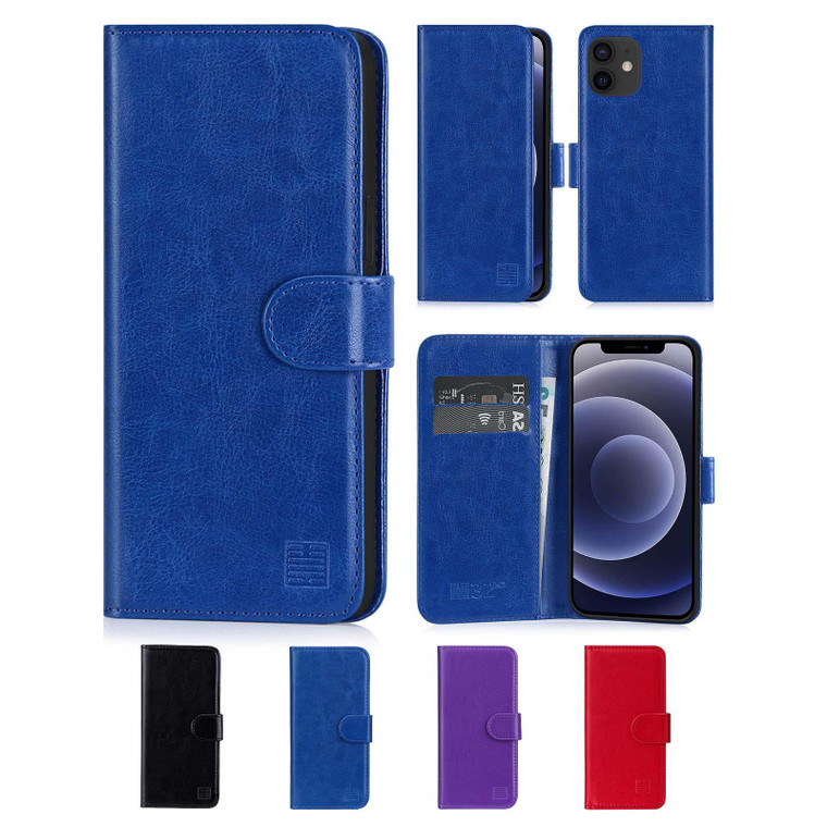 """Apple iPhone 12 (6.1"""") / Apple iPhone 12 Pro (6.1"""") 'Book Series' PU Leather Wallet Case Cover"""