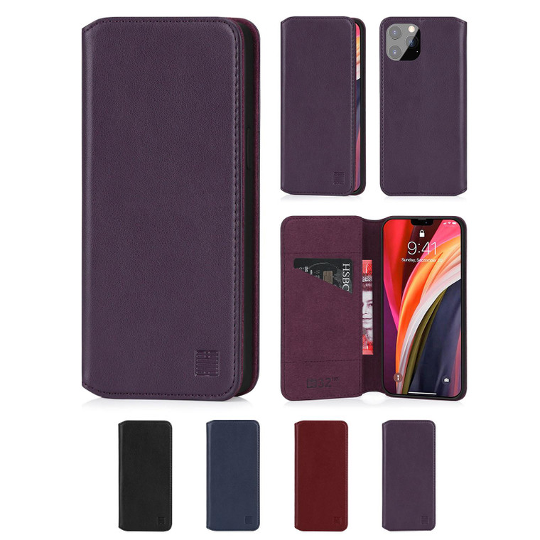 """Apple iPhone 12 Pro Max (6.7"""") 'Classic Series 2.0' Real Leather Book Wallet Case"""