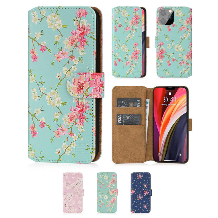 """Apple iPhone 12 Pro Max (6.7"""") 'Floral Series 2.0' PU Leather Design Book Wallet Case"""