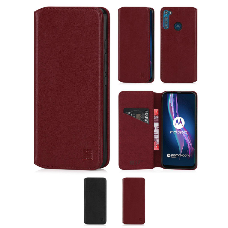 Motorola Moto One Fusion Plus 'Classic Series 2.0' Real Leather Book Wallet Case