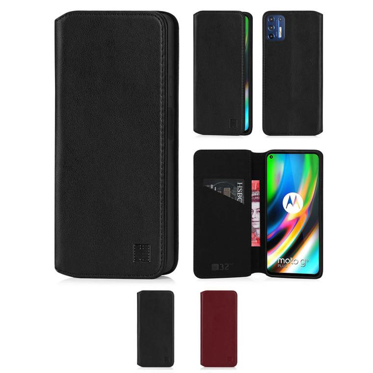 Motorola Moto G9 Plus 'Classic Series 2.0' Real Leather Book Wallet Case