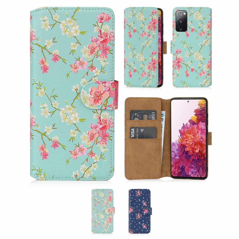Samsung Galaxy S20 FE 5G (Fan Edition) 'Floral Series 2.0' PU Leather Design Book Wallet Case