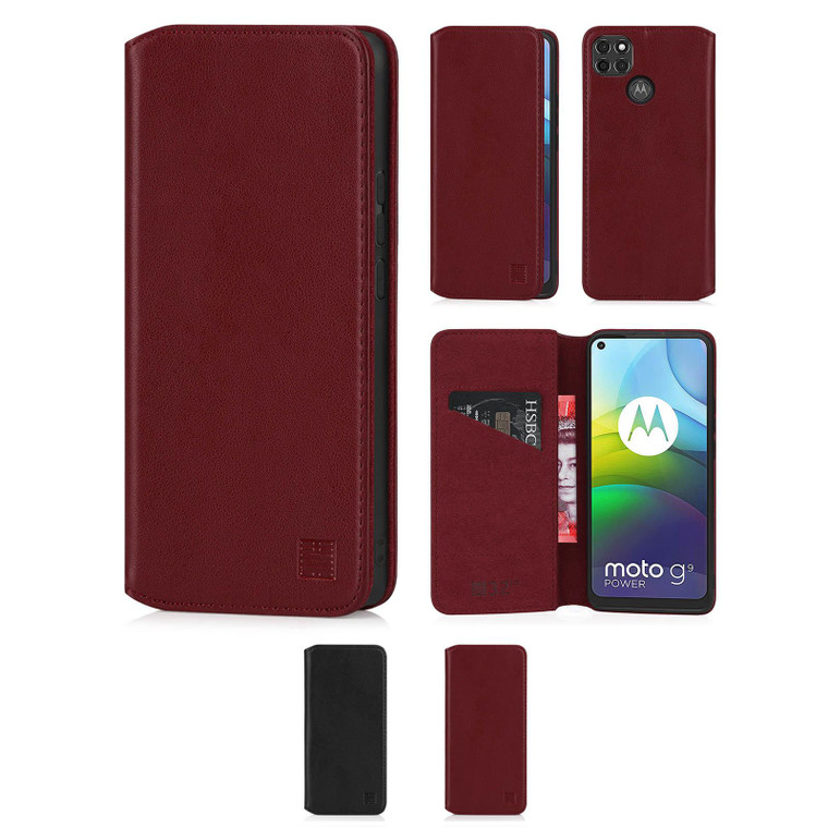 Motorola Moto G9 Power 'Classic Series 2.0' Real Leather Book Wallet Case