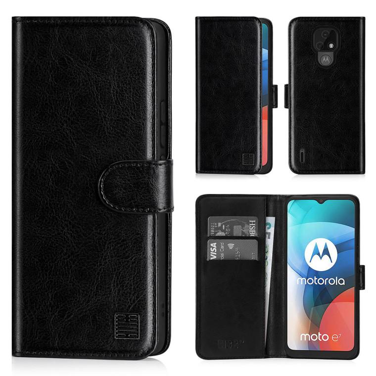 Motorola Moto E7 'Book Series' PU Leather Wallet Case Cover