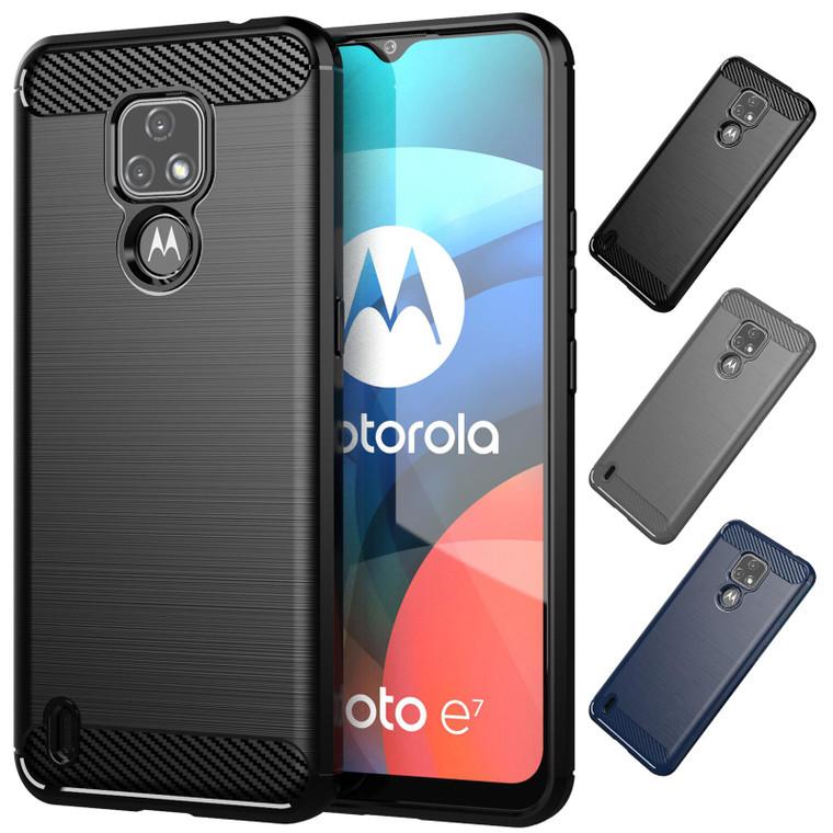 Motorola Moto E7 'Carbon Series' Slim Case Cover