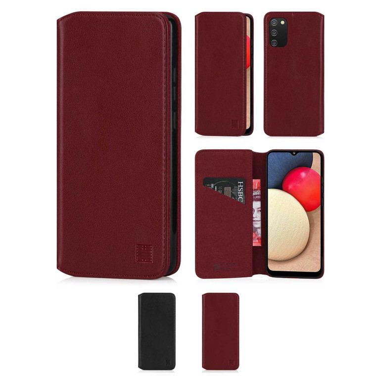 Samsung Galaxy A02S 'Classic Series 2.0' Real Leather Book Wallet Case