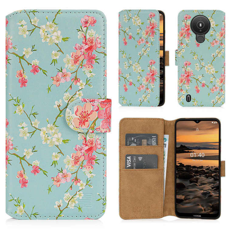 Nokia 1.4 'Floral Series 2.0' PU Leather Design Book Wallet Case