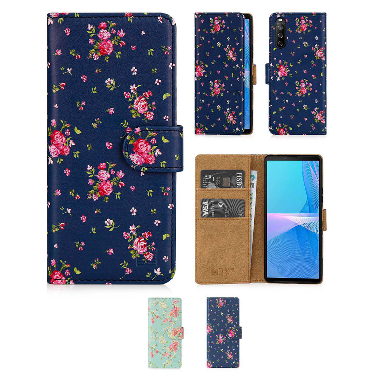 Sony Xperia 10 III (2021) 'Floral Series 2.0' PU Leather Design Book Wallet Case
