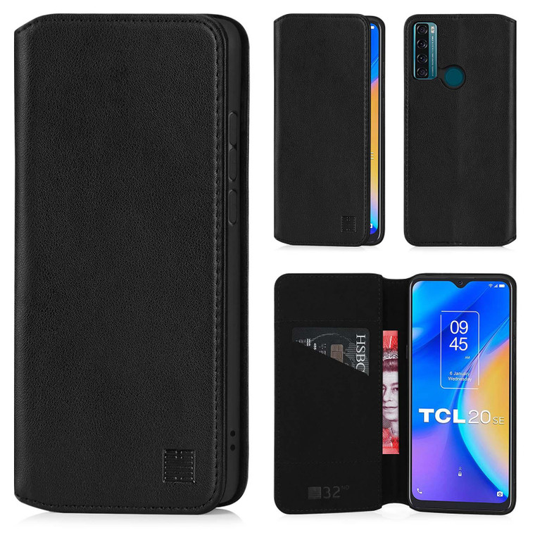 TCL 20 SE 'Classic Series 2.0' Real Leather Book Wallet Case