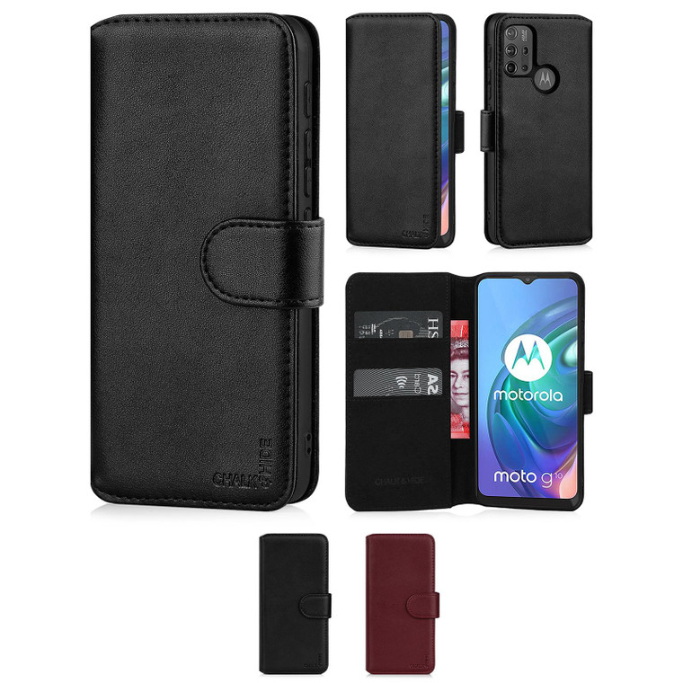 Chalk & Hide Real Leather Book Wallet Case for Motorola Moto G10, Moto G20 & Moto G30
