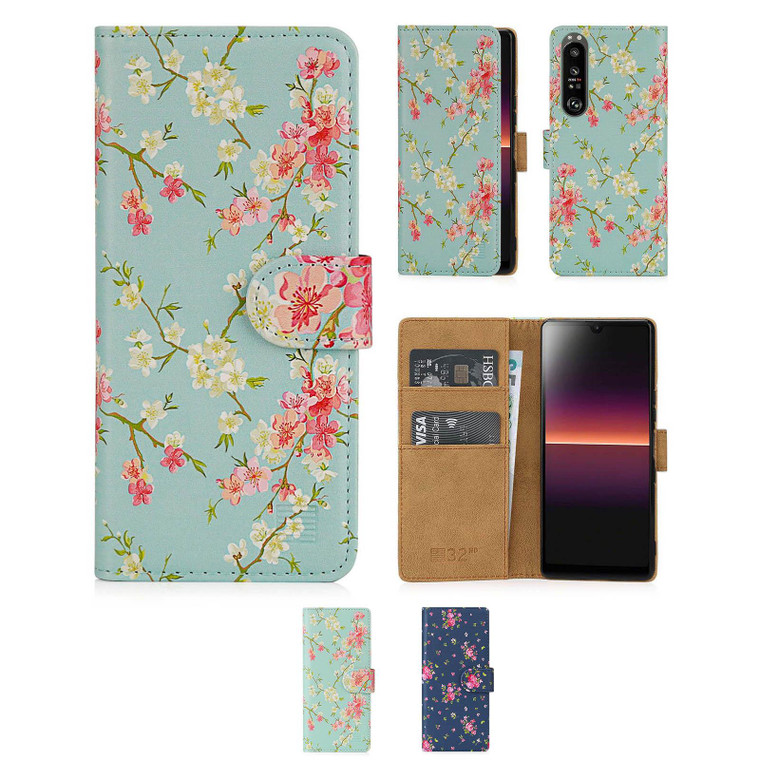 Sony Xperia 1 III (2021) 'Floral Series 2.0' PU Leather Design Book Wallet Case