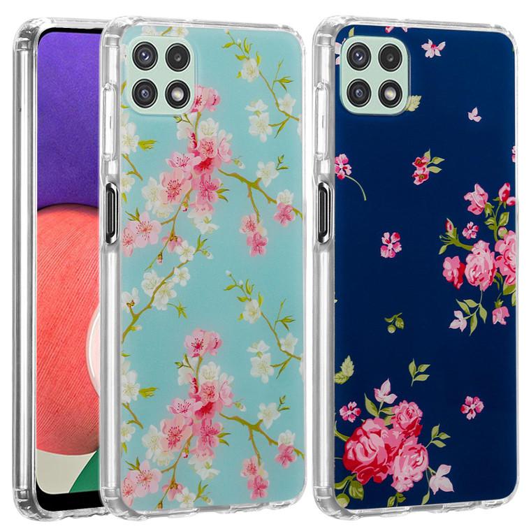 Samsung Galaxy A22 5G (2021) 'Floral Gel Series' TPU Case Cover - Clear