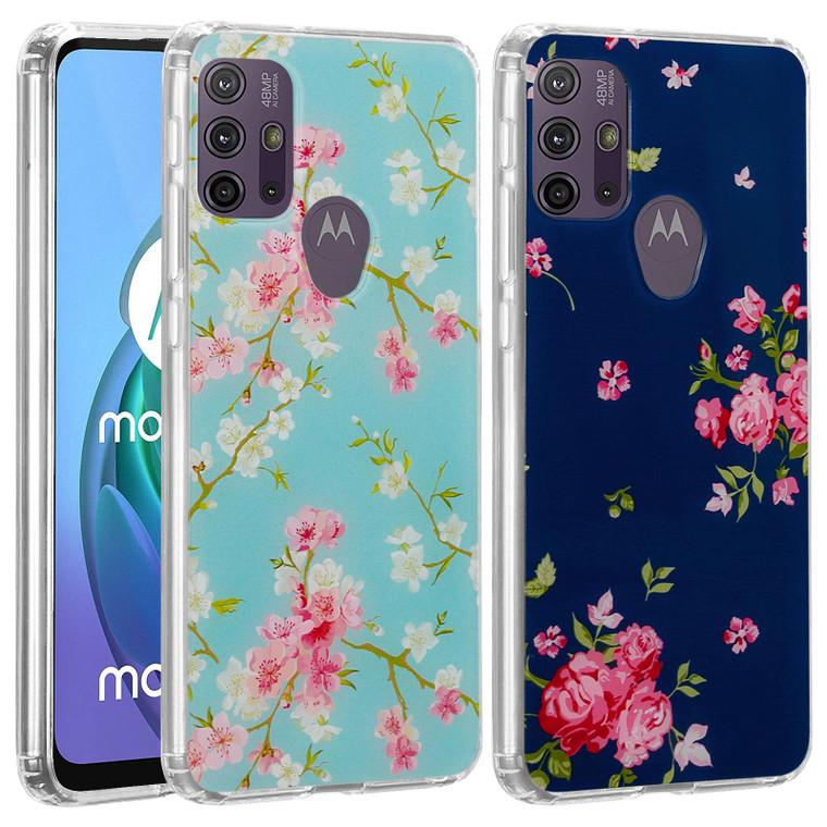 Motorola Moto G10, Moto G20 & Moto G30 'Floral Gel Series' TPU Case Cover - Clear