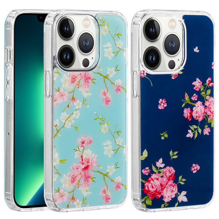 """Apple iPhone 12 Pro Max (6.7"""") 'Floral Gel Series' TPU Case Cover - Clear"""
