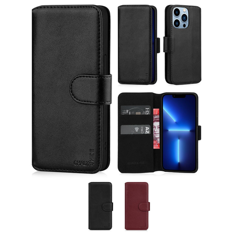"""Chalk & Hide Real Leather Book Wallet Case for Apple iPhone 13 Pro (6.1"""")"""