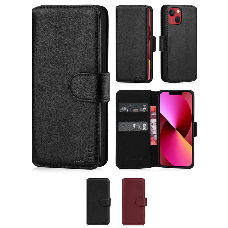 """Chalk & Hide Real Leather Book Wallet Case for Apple iPhone 13 Mini (5.4"""")"""